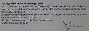 """Lesung aus """"Der Fluch der Königskrone"""""""