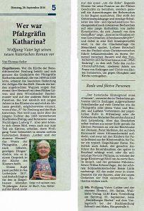 Artikel: RNZ vom 20. 9. 2016 – Wer war Pfalzgräfin Katharina